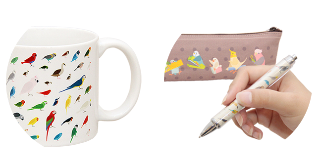 鳥柄グッズ マグカップ ペンケース 文具